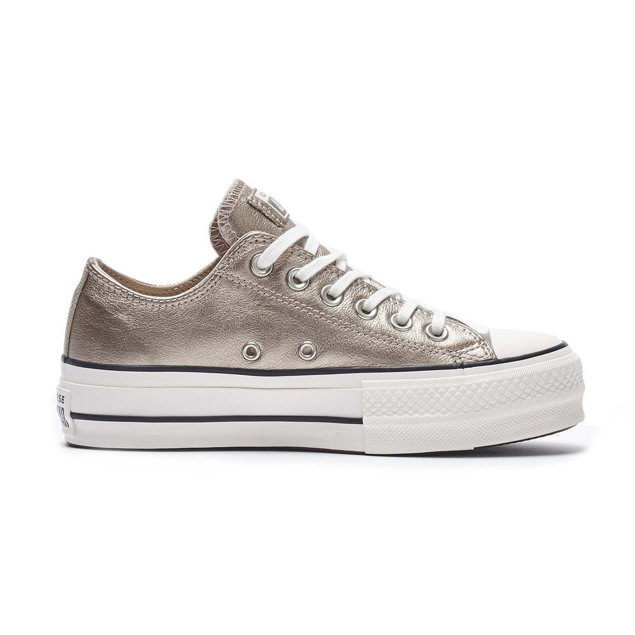 CONVERSE SNEAKERS CTAS LIFT METALLIC LEATHER OX Donna Gold black ...